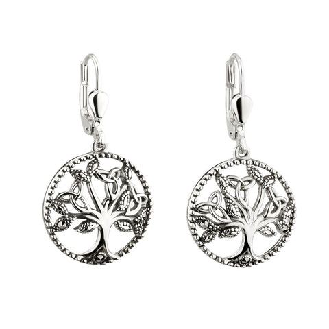 Sterling Silver Marcasite Tree of Life Drop Earrings