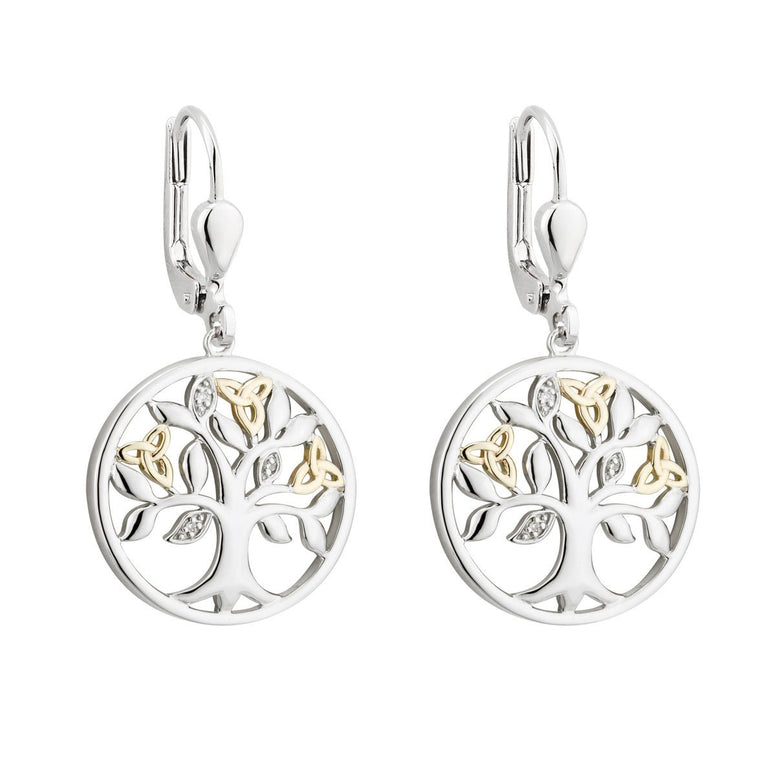Sterling Silver & 10K Gold Tree of Life Drop Earrings