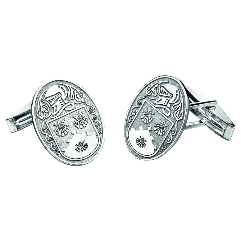 Sterling Silver Personalized Family Name Large Oval Cuff Links