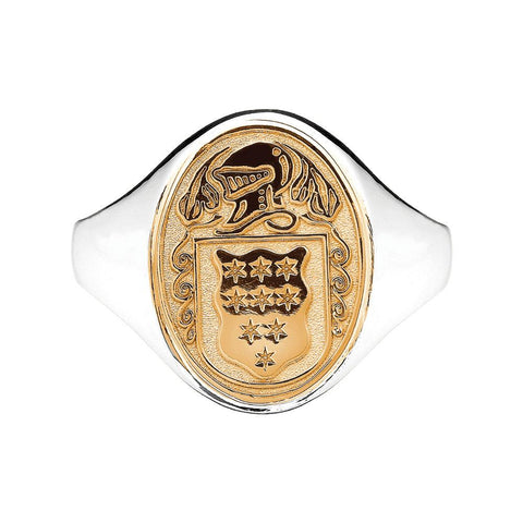Women's Silver and 10k Gold Family Crest Oval Shield Hollow Ring
