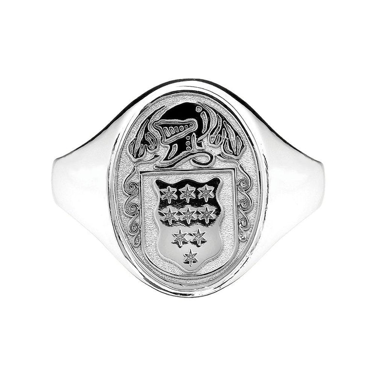 Women's Sterling Silver Family Crest Oval Shield Hollow Ring