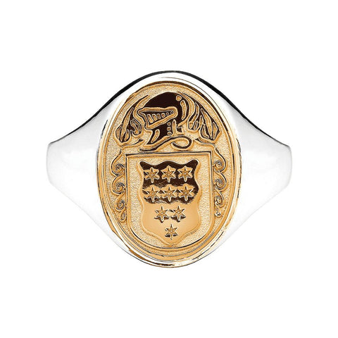Women's Silver and 10k Gold Family Crest Oval Shield Solid Heavy Ring