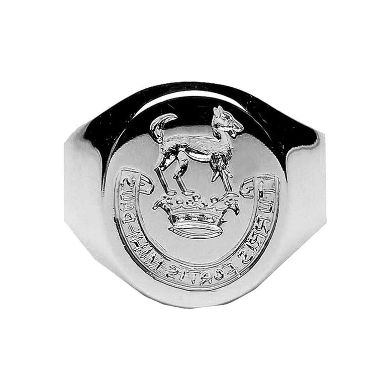Women's Sterling Silver Hand Engraved Family Crest Extra Heavy Ring