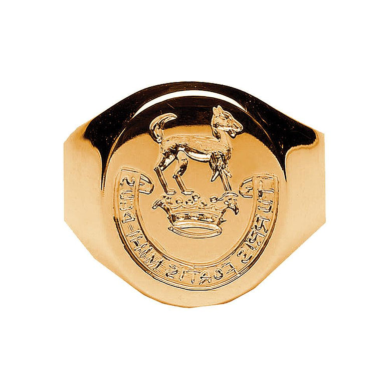 Women's Gold Hand Engraved Family Crest Extra Heavy Ring