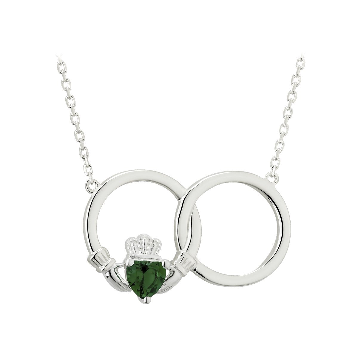 Sterling Silver Green Crystal Claddagh Circle Pendant Necklace