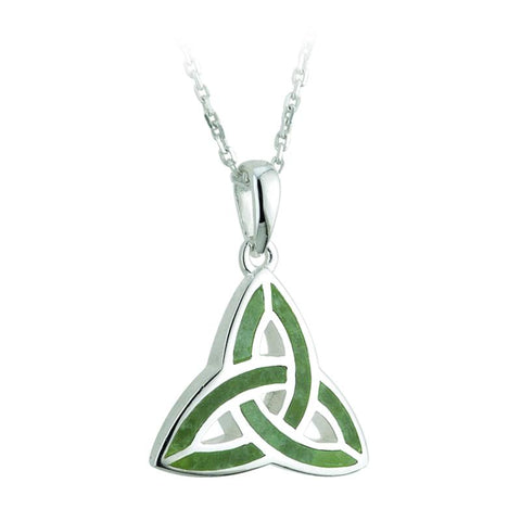 Sterling Silver Connemara Marble Trinity Pendant Necklace
