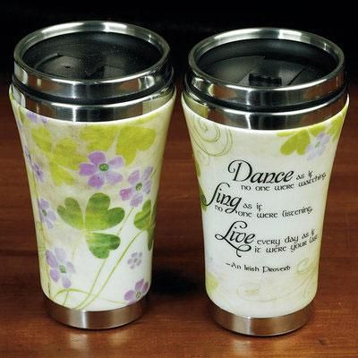Irish Tumbler Mug with Dance Sing Love Travel words