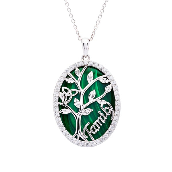 Sterling Silver Malachite Celtic Tree of Life Necklace