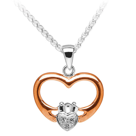 Two-Tone Claddagh Heart Pendant Necklace