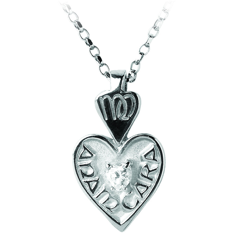 mo anam cara cz pendant necklace sterling silver or white gold