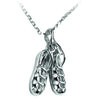 Silver or white gold dancing shoes pendant