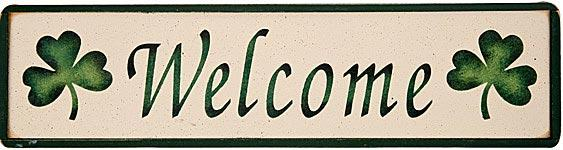 Welcome Irish Wooden Sign with Shamrocks
