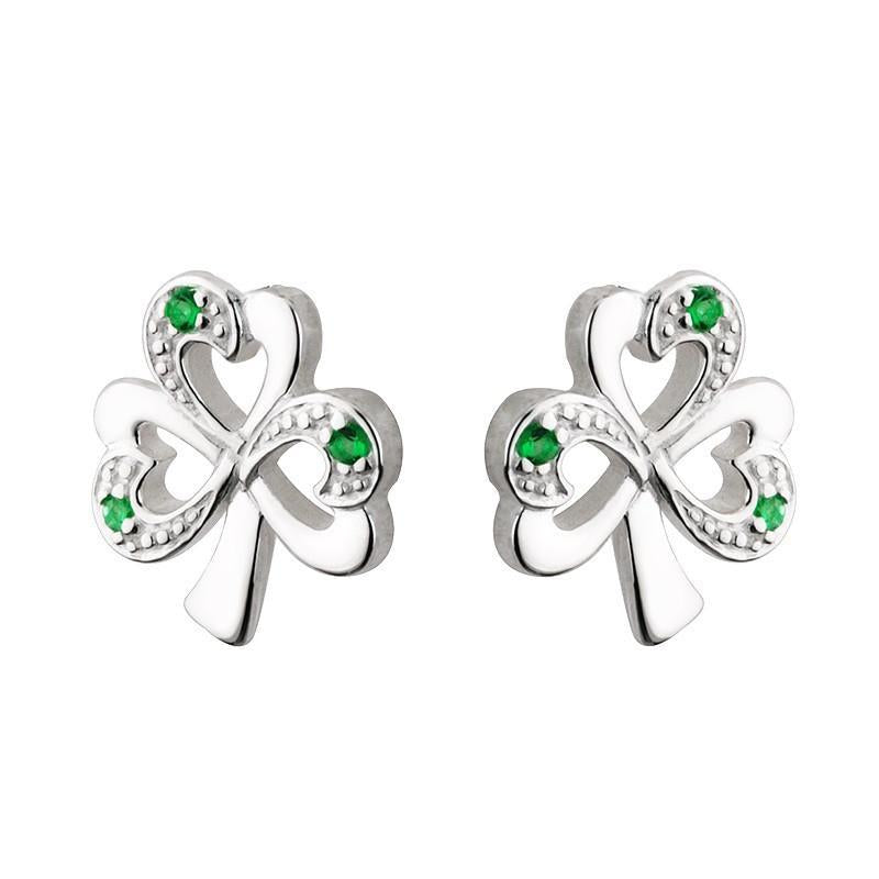 Sterling Silver Shamrock Earrings With synthetic Emerald Heart Leaves