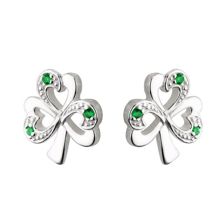 Sterling Silver Shamrock Earrings With Emerald Heart Leaves