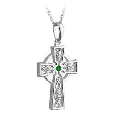 Sterling Silver Celtic Cross with Emerald and CZ Stones