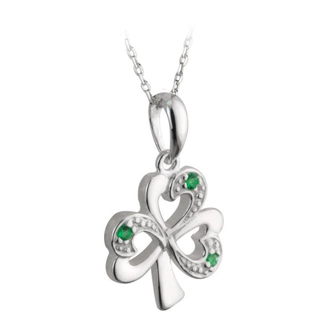 Sterling Silver Shamrock Pendant With Emerald Heart Leaves