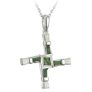 Sterling Silver St. Brigids Connemara Marble Cross Necklace