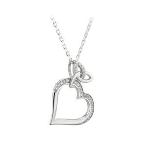 Sterling Silver Trinity Love Knot and Heart CZ Pendant Necklace