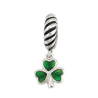 Sterling Silver Enamel Shamrock Dangle Bead