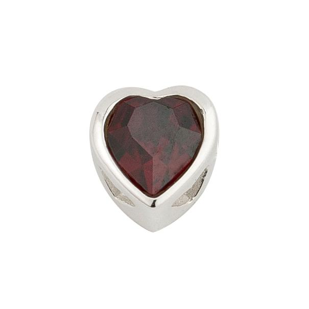 Sterling Silver Red Swarovski Crystal Celebration Heart