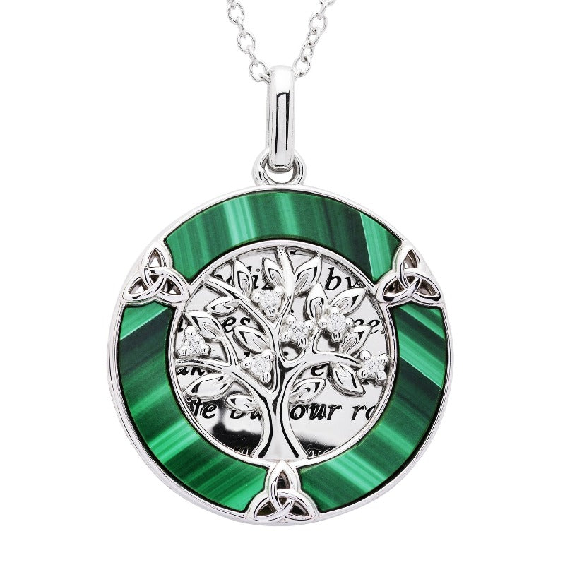 Sterling Silver Celtic Tree of Life Malachite Overlay Necklace