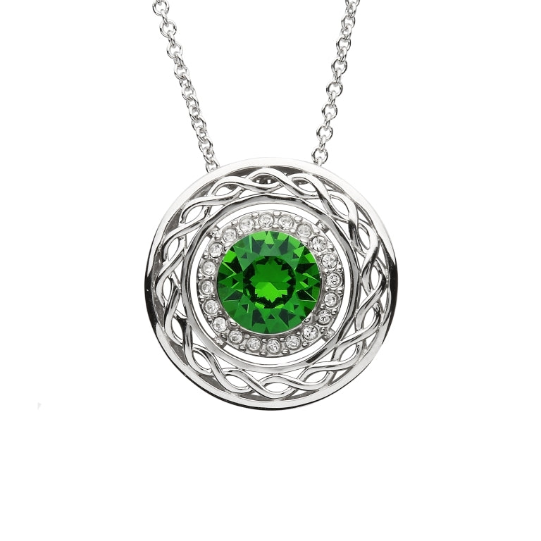 STERLING SILVER SWAROVSKI EMERALD AND WHITE CELTIC KNOT NECKLACE