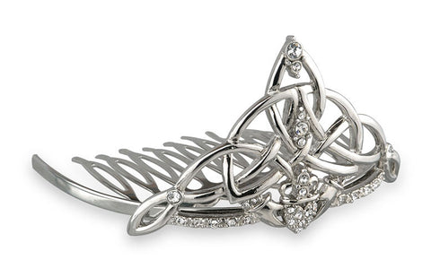 Rhodium Plate Irish Claddagh Tiara Comb - Celtic By Design