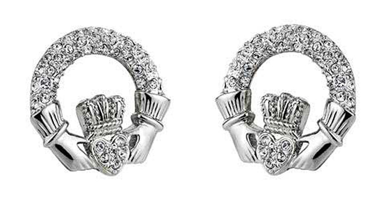 Silver Claddagh Wedding Earrings