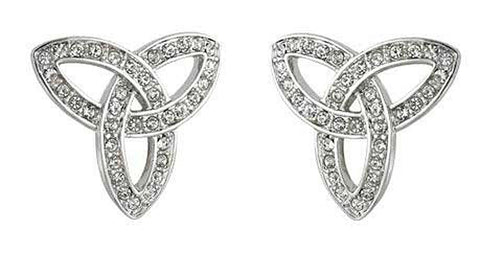 Silver Celtic Trinity Knot Wedding Earrings