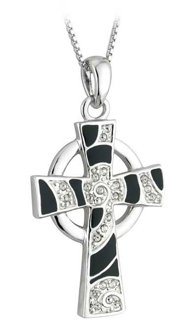 Silver Celtic Cross Crystal Pendant