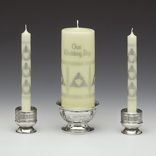 Three Piece Celtic Wedding Unity Candle Holder