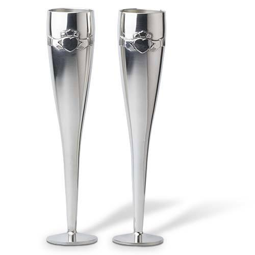 Mullingar Pewter Claddagh Greek Wedding Flutes