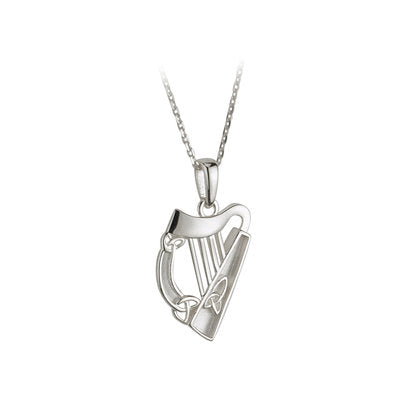 Sterling Silver Irish Harp Necklace