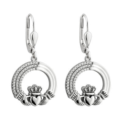 Sterling Silver Crystal Edged Claddagh Drop Earrings