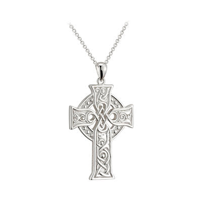 Sterling Silver Large Apostles Celtic Cross Necklace - Front of Cross