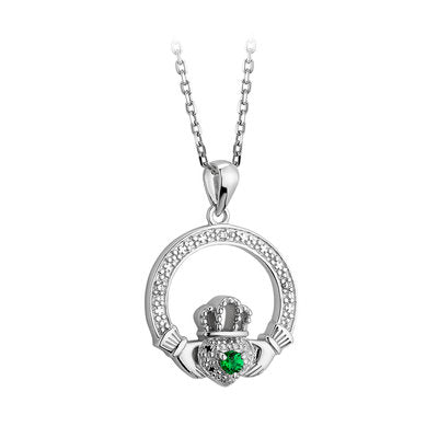 Sterling Silver Crystal Illusion Claddagh Necklace