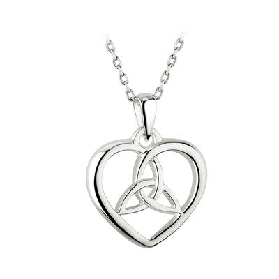 Sterling Silver Heart and Irish Trinity Knot Necklace