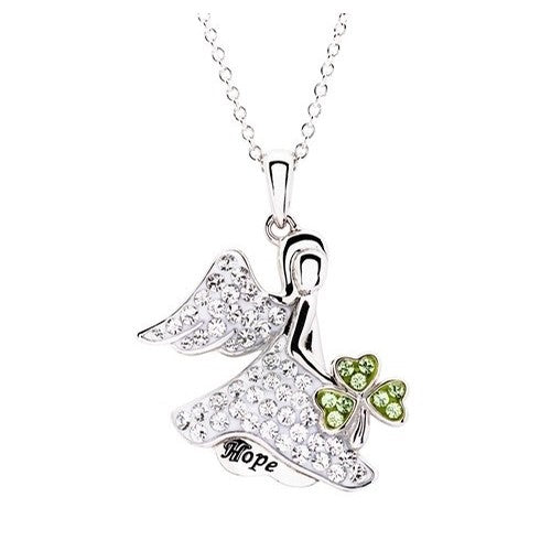 "Shamrock Swarovski Crystal ""Hope"" Angel  Pendant Necklace"