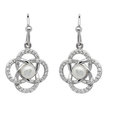 Sterling Silver Crystal Set With Pearl Celtic Knot Drop Earrings