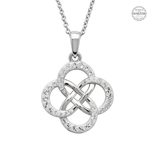 Silver Crystal Set Celtic Knot Necklace