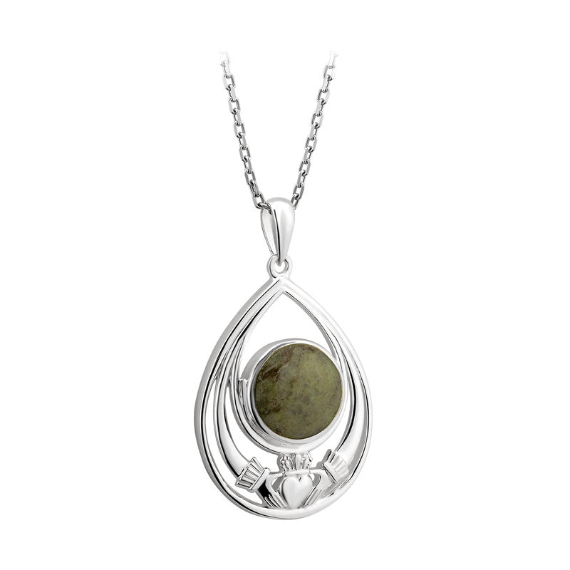 Connemara marble claddagh tear drop pendant