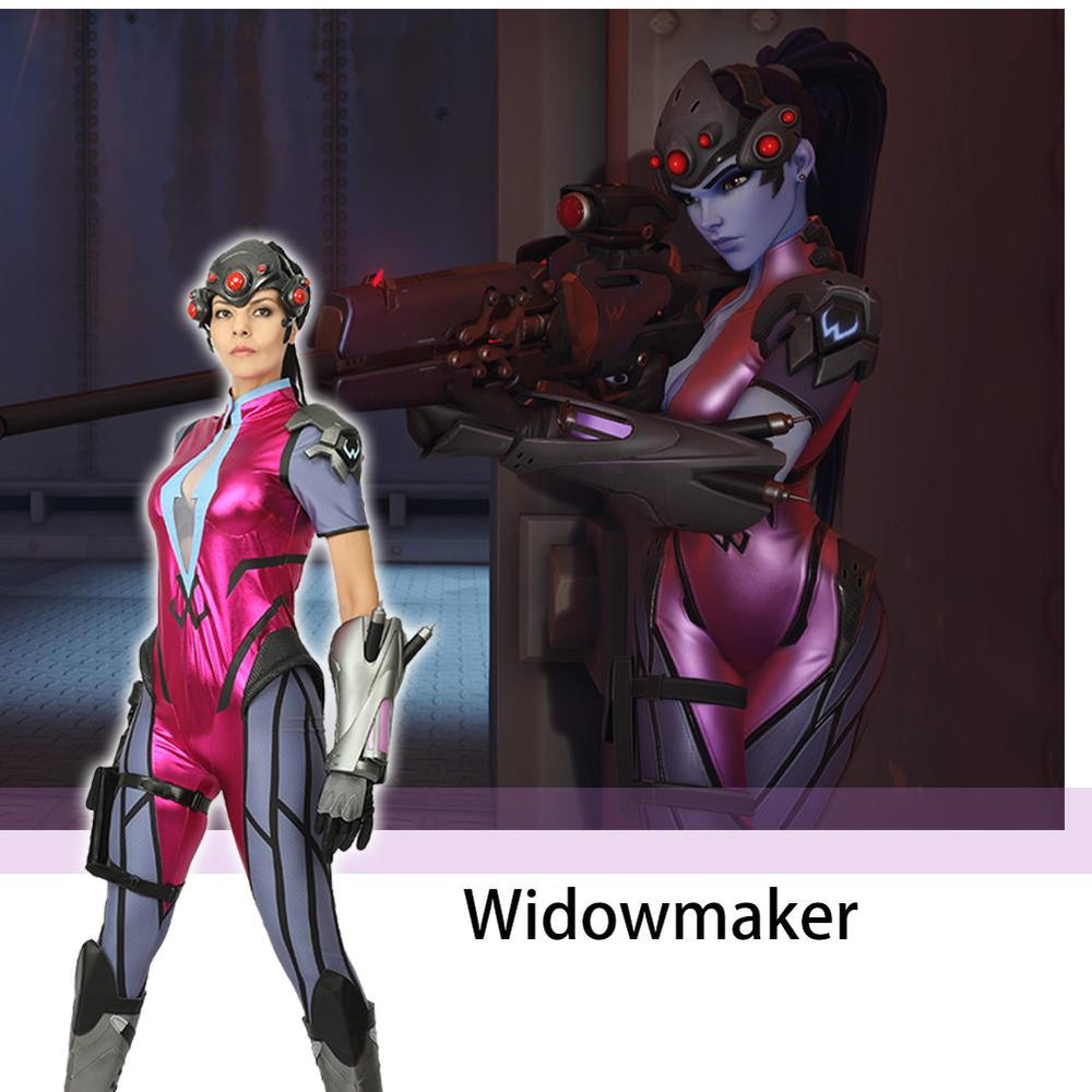 xcoser-de,Overwatch Widowmaker Cosplay Costume, Officially Licensed, Halloween One-Piece Bodysuit Jumpsuit with Gloves and Thigh Pack,