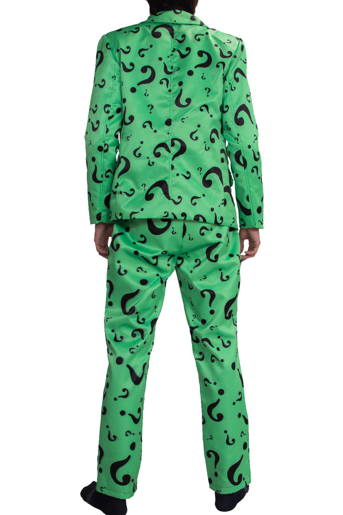 xcoser-de,Riddler Kostüm Question Mark Pattern Suits DC Comics Riddler Cosplay Kleidung,Riddler Kostüm