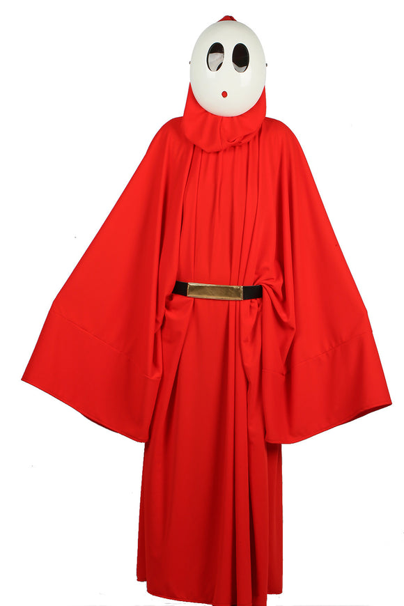 Super Mario Shy Guy Kostüm Bright Rouge Robe with Hood Cosplay Kleidung