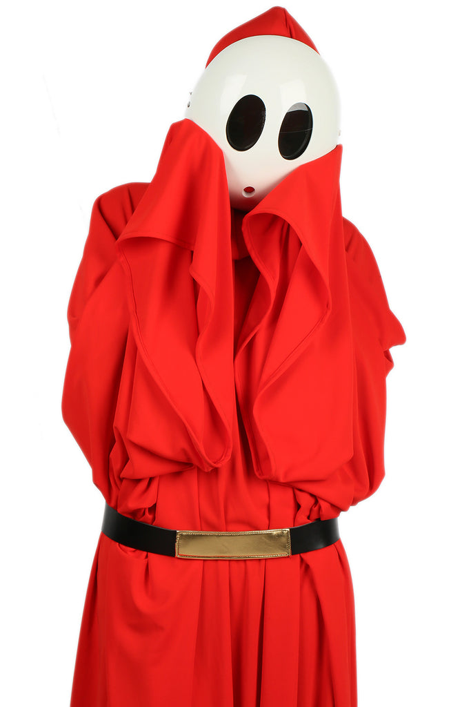 xcoser-de,Super Mario Shy Guy Kostüm Bright Rouge Robe with Hood Cosplay Kleidung,Super Mario Shy Guy Kostüm