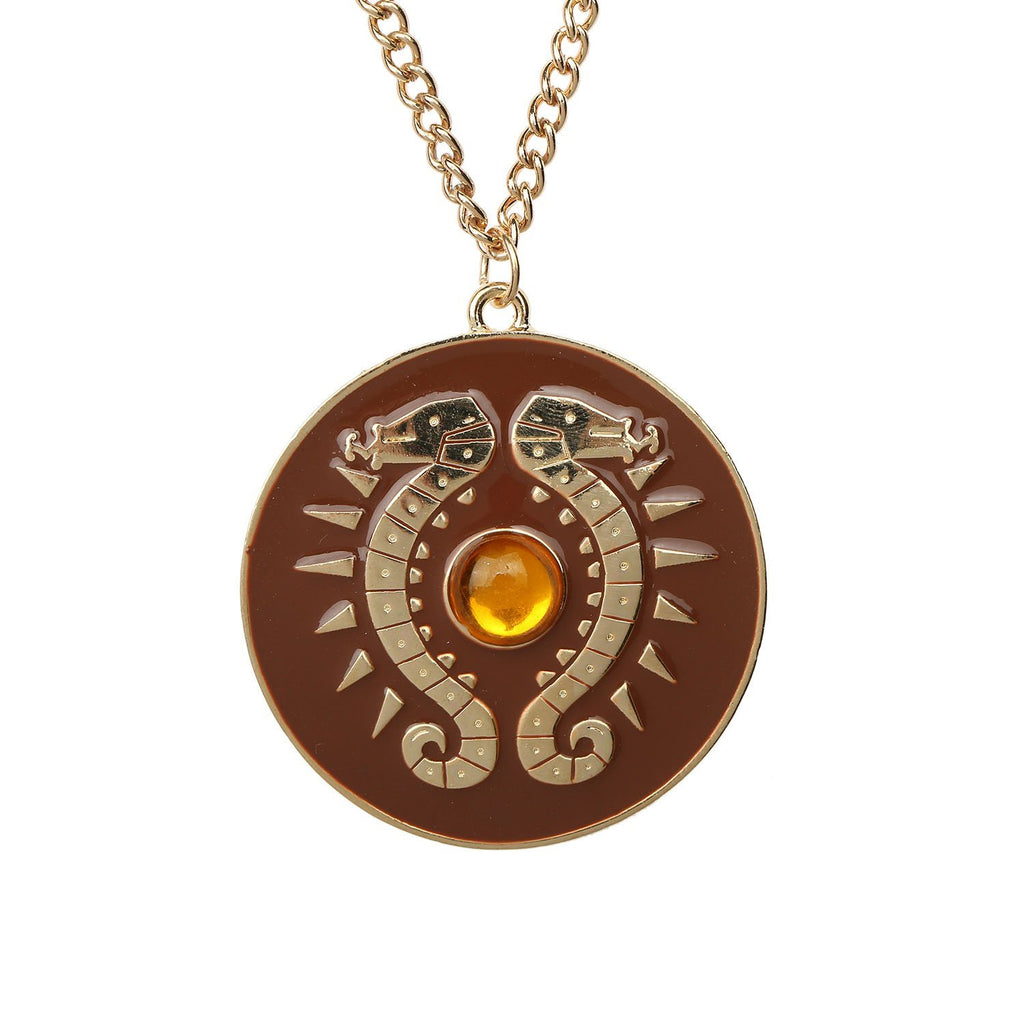 xcoser-de,The Legend of Zelda: Breath of the Wild Link Shield Necklace Round Brown Necklace,Game Cosplay,Themes