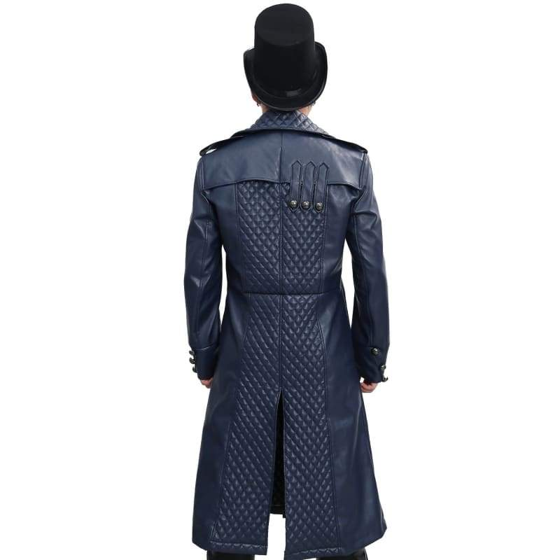 xcoser-de,Assassin's Creed Cosplay Costume for Men Dark Blue Overcoat,Costumes