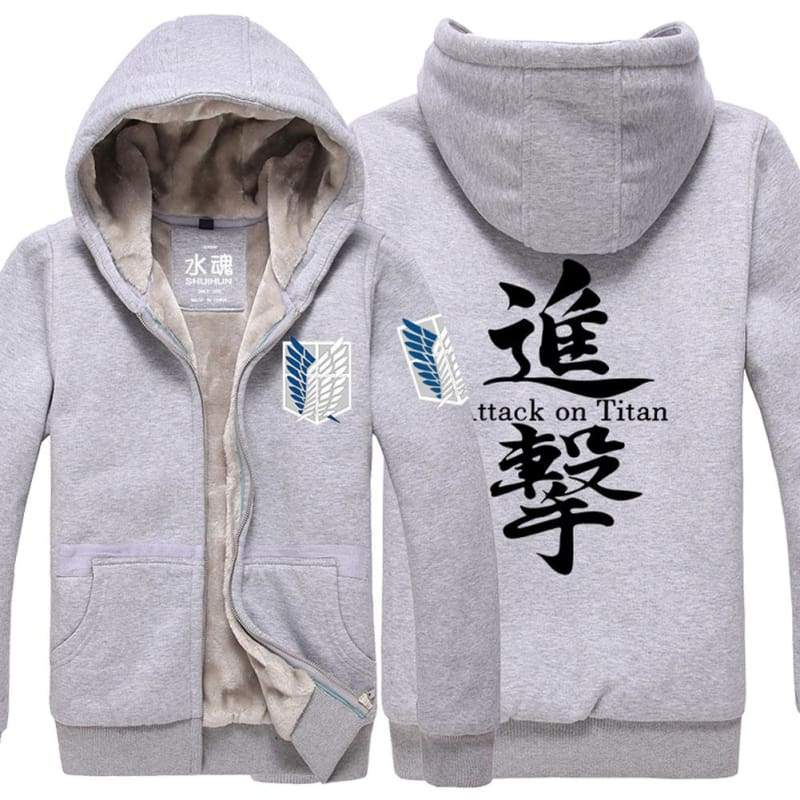 xcoser-de,Attack On Titan Hoodie Anime Unisex Thicken Winter Hoodies Black/Gray Zip Hoodie Costume,Hoodies