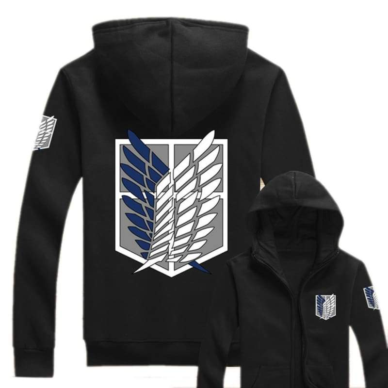 xcoser-de,Attack On Titan Hoodie AOT Wings of Liberty Survey Corps Zip Up Hoodie,Hoodies