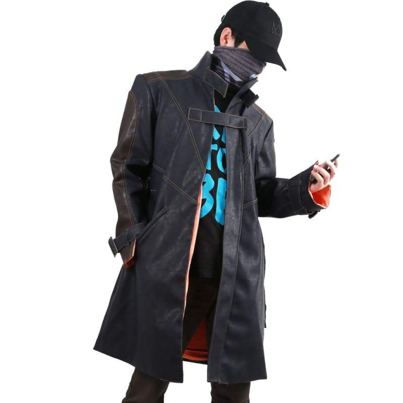 xcoser-de,Black Watch Dogs Mask Hat Aiden Pearce Coat,Costumes